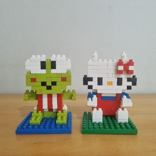 Nano Block Keroppi, Hello Kitty, Kungfu Panda, Badz Maru, Pooh, Goofy, Bajaj