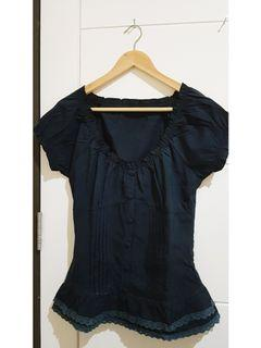 Navy Lace Top