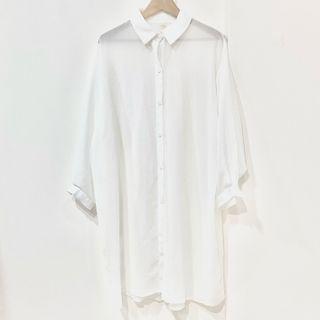 Per ::: 優雅氣質白透膚感細紋長版襯衫外套