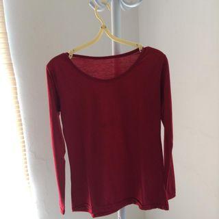 red shirt + skirt + syal