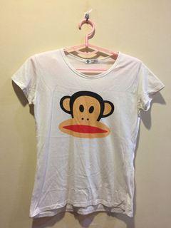 猴子白色短T
