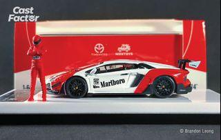 Time Micro x MoxToys 1:64 Lamborghini Aventador LP70 LBWK Marlboro with Figure (LIMITED EDITION)