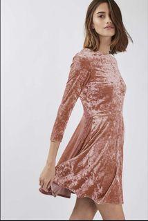 Topshop pink velvet dress