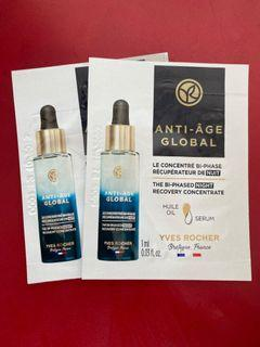 Yves Rocher 花萃幹細胞再生修復晚間精華 Anti-Age Global The Bi-Phased Night Recovery Concentrate Sample 試用裝 每包1 ml $20=2包 包平郵
