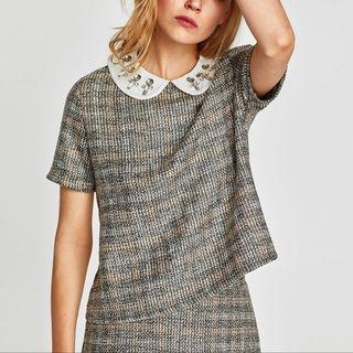 Zara tweed top with gem peter pan collar