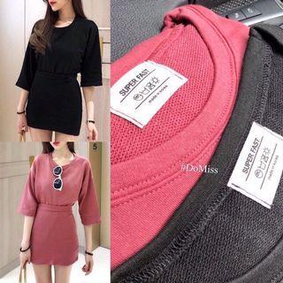 韓系寬鬆上衣+短裙(黑)