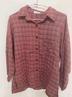 休閒寬鬆紅色格紋格子襯衫