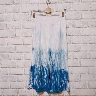 手工藍染 棉麻寬褲