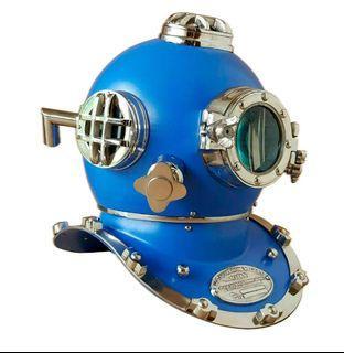 水肺海軍潛水頭盔 / 馬克V 18吋全尺寸潛水頭盔 / 潛水頭盔收藏品禮品 / 藍色潛水頭盔 (需預訂)