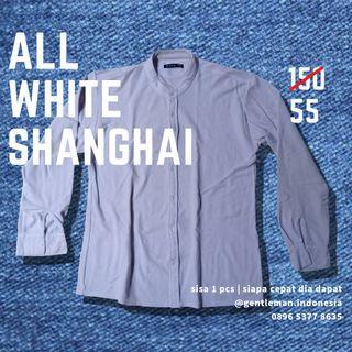 🇯🇵 ALL WHITE KEMEJA (Kerah Shanghai, Pique, L)