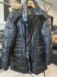 Black knee length winter jacket