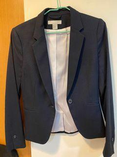 H&M 深藍西裝外套 修身正常版型
