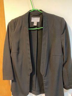 H&M 黑七分袖休閒西裝外套 薄款