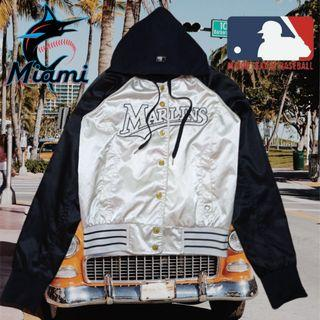 MLB MIAMI MARLINS FULL SNAP VARSITY BASEBALL JACKET WITH REMOVABLE HOODIE ORIGINAL AUTHENTIC