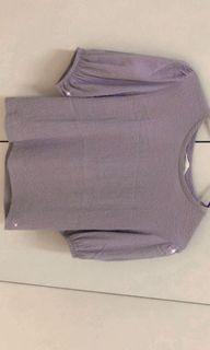 (有實穿)NET抓皺紫色上衣