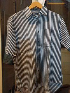 Polo Stripe Shirt White And Black (size L)