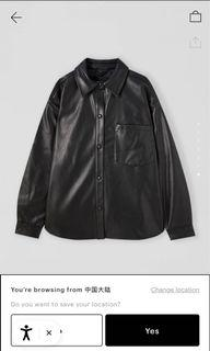 Pull and bear black faux leather overshirt