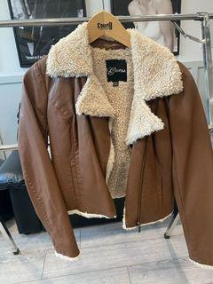 Tan Faux Leather Jacket from Guess