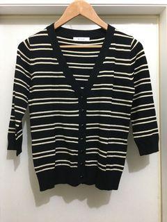 【二手_MA TSU MI】黑色 金蔥 條紋 七分袖 外套