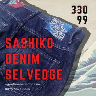 🇯🇵 (SISA SATU) Sashiko Selvedge Denim (Size 34/ Celana Jeans/ 18oz)