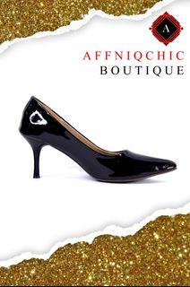 AFFNIQCHIC Lila/Classic Glossy Close leather office  heels Shoes