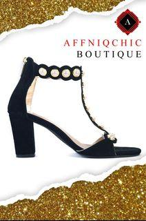 AFFNIQCHIC Mel Pearly/ Fashion Ankle Strap Women Casual Sandals Open Toe Summer High Heel Shoes Buckle Ladies Office Work with Pearl DesignShoes