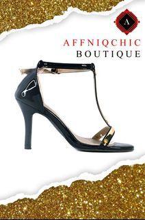 """AFFNIQCHIC Metalli/""""Women Open Toe  High Heels Sandals with gold metal plate"""