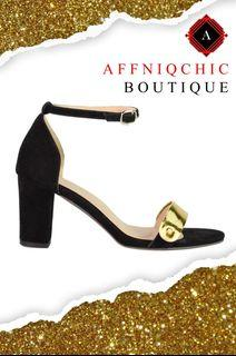 AFFNIQCHIC Mia / High Heels  Sandals with Ankle Strap Dress Shoes Sexy Gold Open Toe Cover Heel