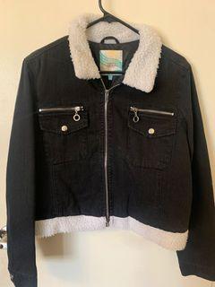 Cropped denim and fur jacket