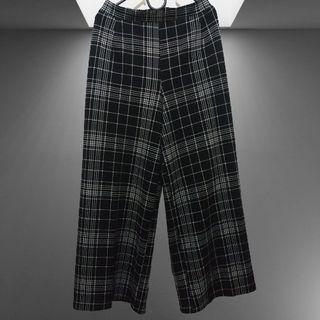 Caitlin Culotte Pants Black Wide Leg Pants in Checkerwork