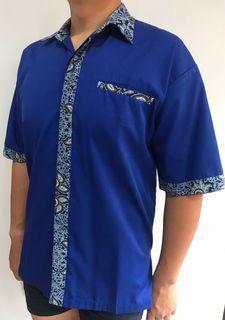 Kemeja Batik Two Tone Biru