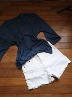 Loose Top + Short Jeans Pants - 1 Set