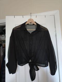 mesh tie crop top