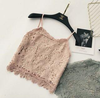 Pink Floral Lace Cami Tank