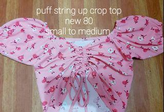 Pink puff crop top