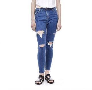 The Editor's Market Calais Navy Blue Ripped Jeans