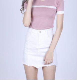 Topazette White Flint Frayed Denim Skirt/Skorts