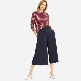 Uniqlo Stretch Wide Cropped Pants | Cullote Pants In Navy |