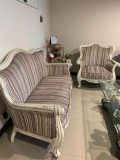 Used sofa  3 1 1 seater kayu fabric
