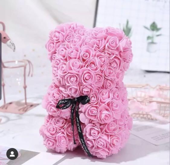 25cm Pink Rose Teddy Bear Birthday Girlfriend