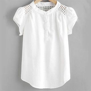 速賣通夏季新款襯衣女鏤空拼接短袖圓領上衣襯衫女323339