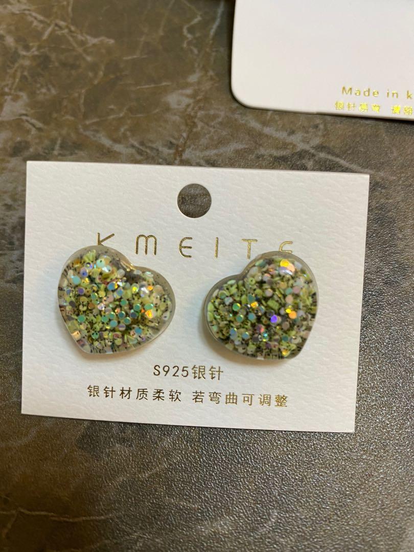925針綠色心心耳環