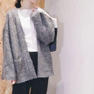 二手近新)韓國海馬雜染灰落肩開襟雙口袋針織毛衣外套