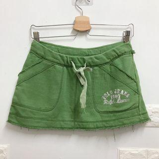 二手)果綠色夏日內襯褲運動休閒風抽繩短裙