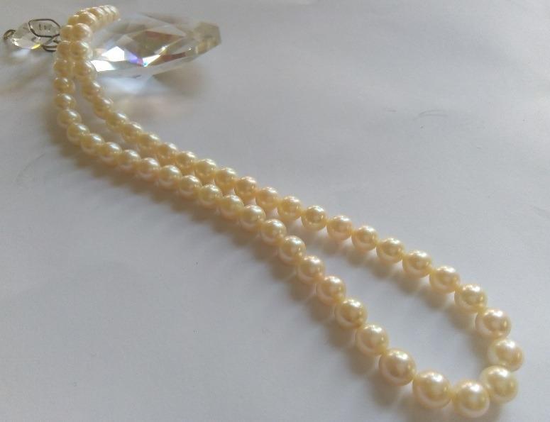 日本珍珠項鍊 項鍊長約42cm 每顆約0.8公分8mm