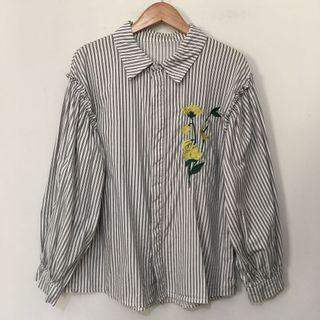 Black Stripes Embroidered Button Down Top