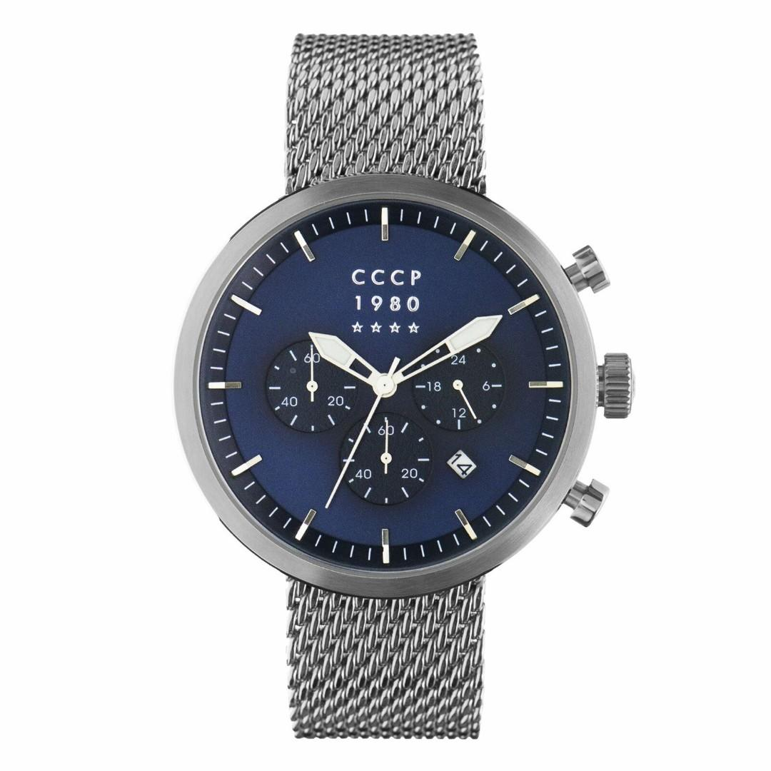 CCCP 男錶 Kashalot CP-7007-33 44mm 藍色錶盤 米蘭錶帶 三眼計時