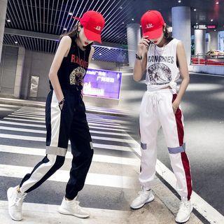 hiphop女褲子2020新款夏季寬松休閑運動哈倫褲情侶嘻哈束腳反光褲549906