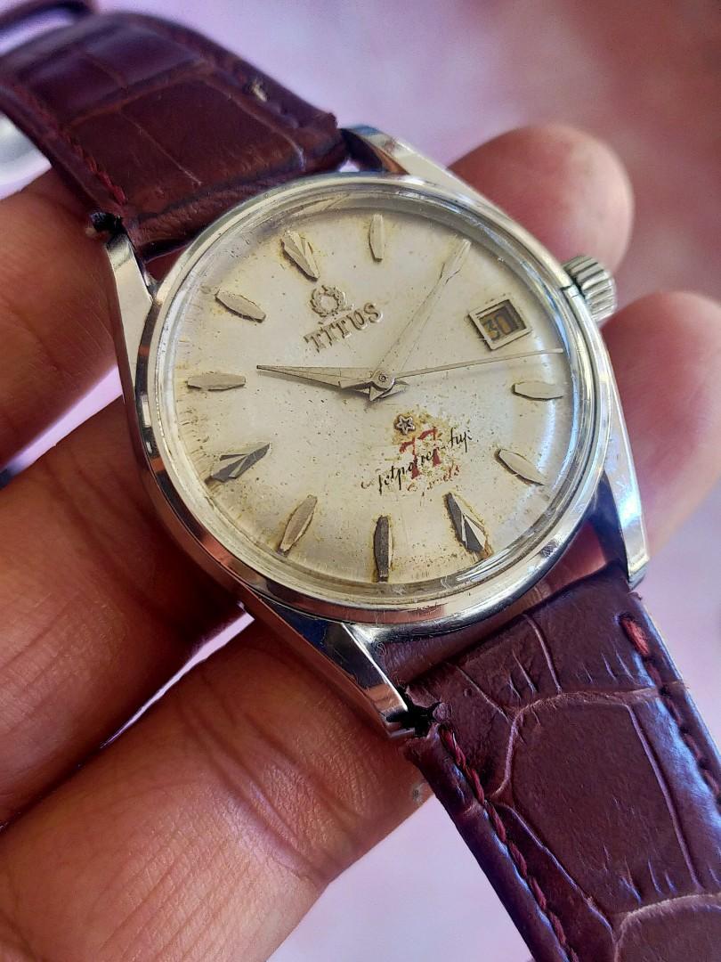 Jam Tangan Titus 77 Jewels Automatic Swiss Vintage Pay Pan Dial