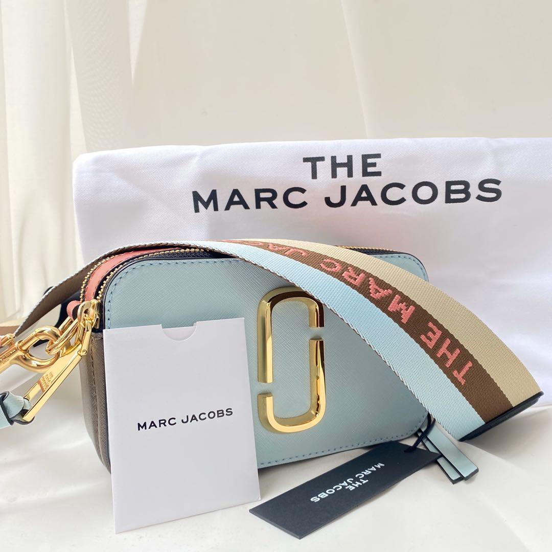 限時降價 全新Marc Jacobs snapshot 防刮牛皮相機包 天藍色拼接磚紅色♥️